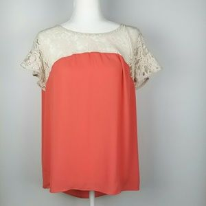 Anthropologie Maeve Peach Blouse Lace M